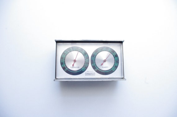 Vintage Springfield Temperature and Humidity Guage - Wall Hanging - 1970's - Barometer - Interior Design - Made in the USA - Weather