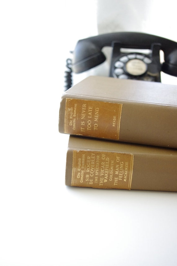 2 Vintage Beige Books - Home Decor - Interior Design - Photography Prop - 1902 - English Comedies - Back to School