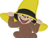 Inquisitive Monkey in yellow hat  - Applique or Embroidery FILE