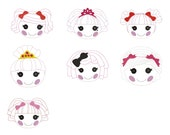 Choose 1 of 7  Doll face Clippie designs  - File only