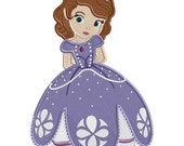 Little Girl Princess Sophie - Filled Embroidery FILE - INSTANT DOWNLOAD
