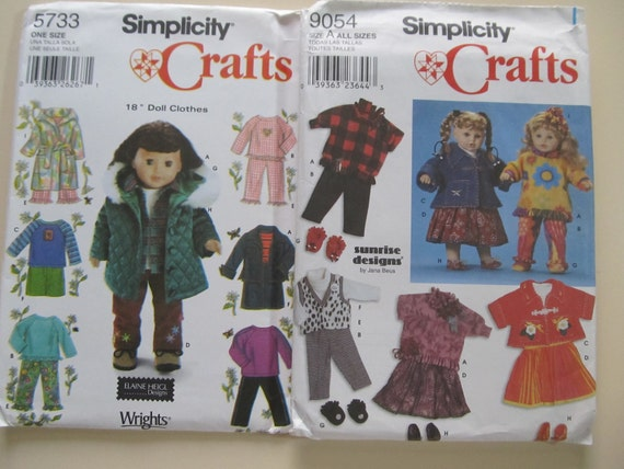 "2 Simplicity Patterns for  18"" dolls.  Never cut or used. Many styles between both patterns."