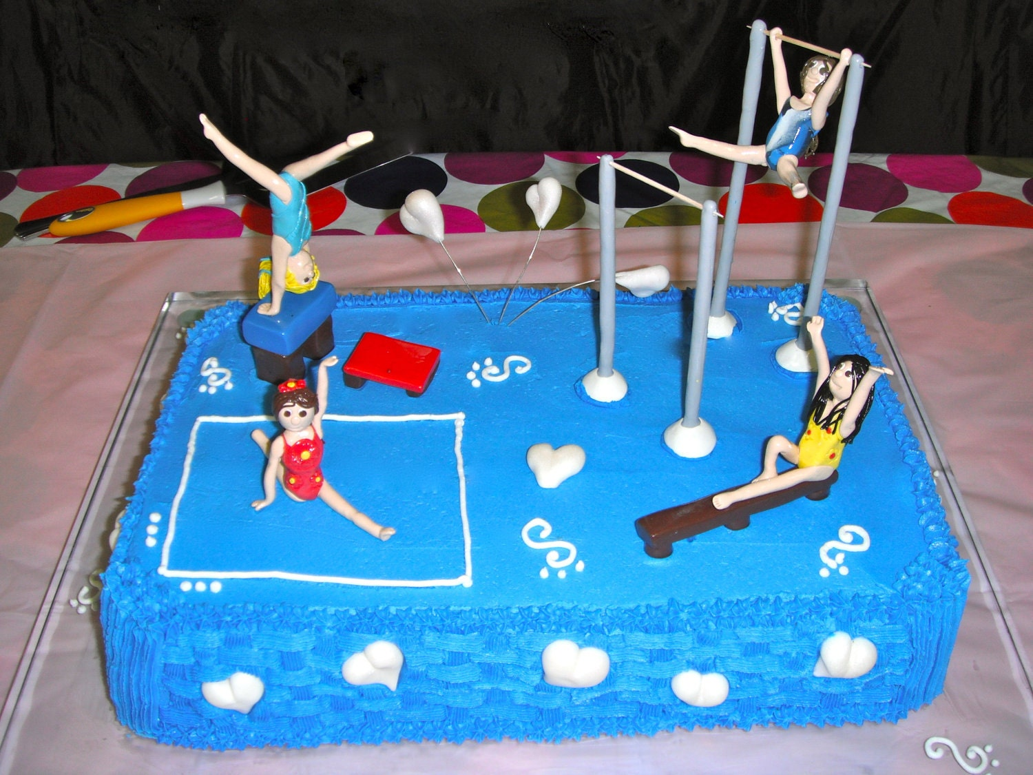 Custom Cake Topper Gymnastic Girls with equipment