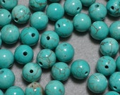 Round Ball Turquoise Color Howlite Beads 6mm