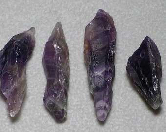 Organic Raw Natural Deep Purple Amethyst Nuggets Point Beads 19mm - 40mm