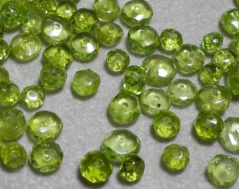 Peridot Faceted Rondelle Beads 3mm to 5mm