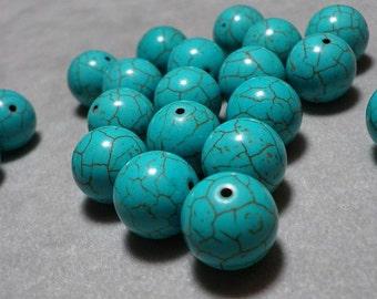 Turquoise Howlite Round Beads 13mm