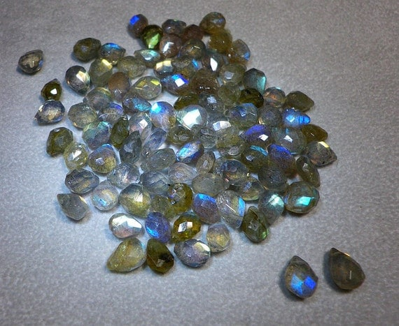 Reserved For Signe 6mm - 8mm Greenish Blue Labradorite Faceted Briolette Beads