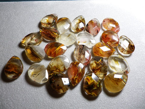 Large  Volcano Galaxy Quartz Faceted Briolette Beads 25x18mm
