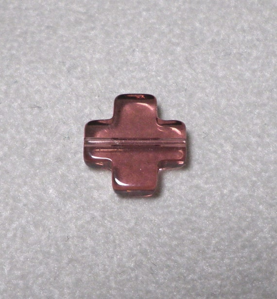 Purple Amethyst Quartz Glass Cross Shaped Beads 12mm