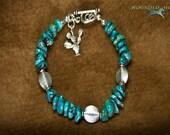 Blue Turquoise Southwestern Skies & Cactus Charm Bracelet