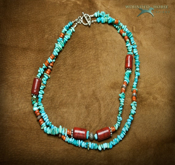 Turquoise Necklace, Kingman Turquoise, Southwest Necklace, Turquoise, Apple Coral & Sterling Silver Bead Necklace, Wounded Horse Designs