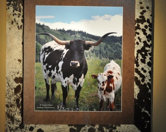 Custom Handmade Genuine Cowhide Framed Texas Longhorn 32 x 37 Picture