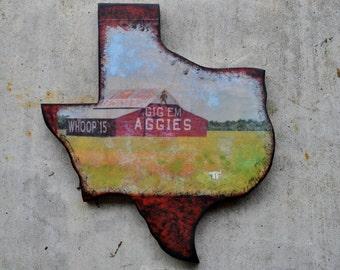 Texas Shaped Wood Wall Hangings