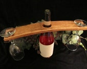 Wine Stave Bottle Butler fits wine bottle & 2 glasses