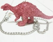 Glitter Dinosaur Necklace in Pink -RaWr-