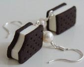 Vanilla Ice Cream Sandwich Earrings