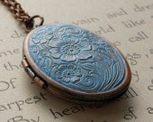 Shabby chic locket, vintage style floral necklace, rustic blue patina