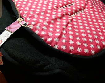 Reversible Pram and Stroller liners- Pink with White dots