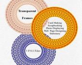 Digital Frames Circles Flower Kaleidoscope Blue Yellow Pink PNG files for  Scrapbooking Card Making Photo Framing