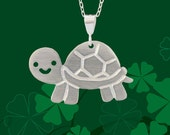Sterling Silver Sheldon the Turtle Pendant and Necklace
