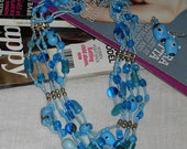 Beautiful aqua blue  color  multy strand  necklace and earings woo hoo on sale only at