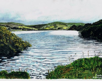 Original Water colour painting of Semerwater Lake at Raydale, in the Yorkshire dales