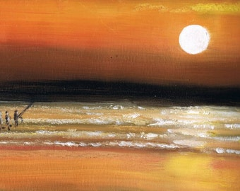 Bass Fishermen at Spurn Point, East Yorkshire Original Oil Painting 15.5 x 11.5 stretched canvas