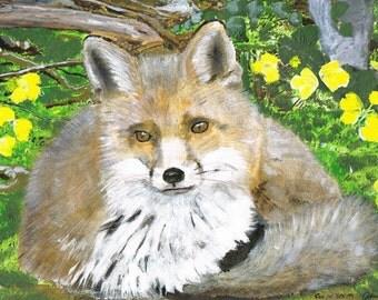 Fox in Springtime  - Greeting card