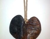 Burnt Oak Wood Battered Heart