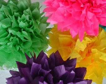 5 Pom Pom kit- You choose COLORS tissue paper poms // diy // wedding decoration // baby shower // party decor