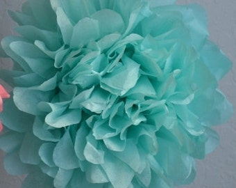 1 LARGE-AQUA Pom Pom kit- tissue paper poms // diy // wedding decoration // baby shower // party decor