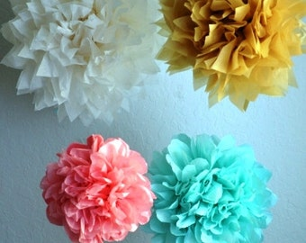 10 xxl Pom poms - You choose COLORS - FREE SHIPPING tissue paper poms // diy // wedding decoration // baby shower // party decor