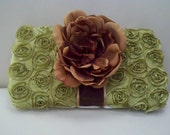 shabby chic green rosette and vintage flower diaper wipe case