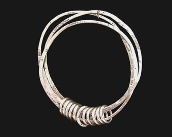 Triple Bangle - forged sterling silver