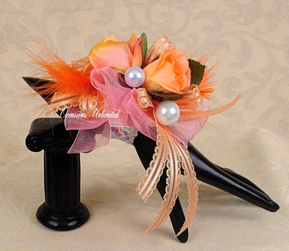 Prom Corsage - corsage, coral orange -  bling corsage- dance corsage- wrist corsage. wristlet