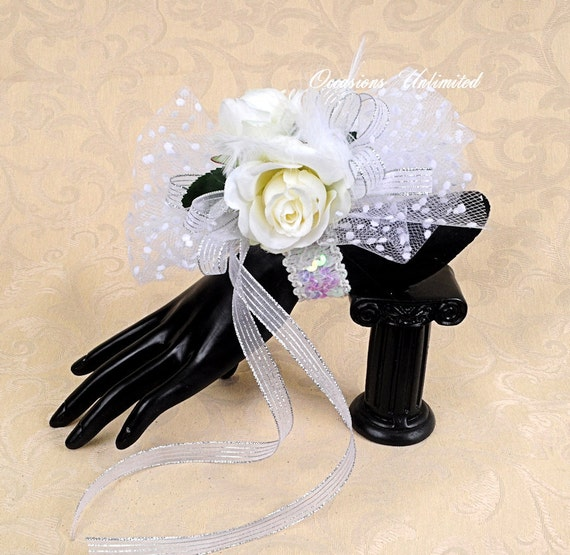 Prom Corsage - corsage, White -  bling corsage- dance corsage- wrist corsage. wristlet