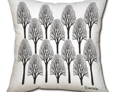 Tree pillow cushion  Scandinavian trees in black and white print on a gabardine decorative (insert included)