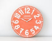 Vintage clock -London coral- pseudo vintage birch clock hand painted by happy fresh coral color blackboard style - DesignAtelierArticle