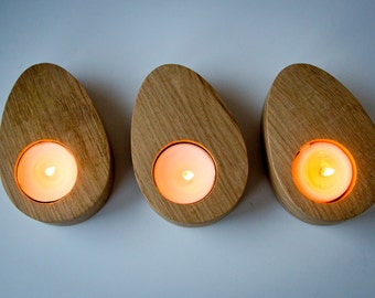 Candle holders // A set of Three - Droplets of wood -  Modern Home Decor // Housewarming gift // Christmas gift // FREE SHIPPING