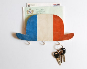 Key Hook - Wooden Wall Organizer - Wood Shelf - Bowler Hat France- for your keys, bills and letters