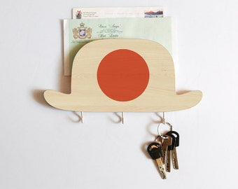 Key Hook - Wooden Wall Organizer - Wood Shelf - Bowler Hat Japan - for your keys and letters