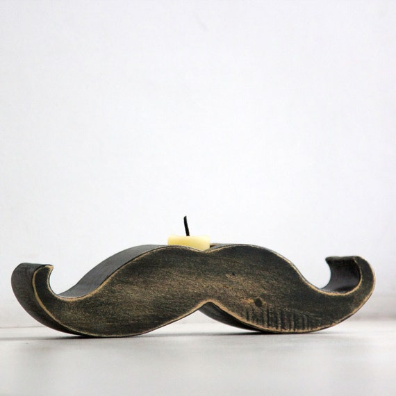 Moustache / mustache candle holder - Rodrigez -  FREE SHIPPING made out of solid wood hand sanded and painted with black acrylic paint