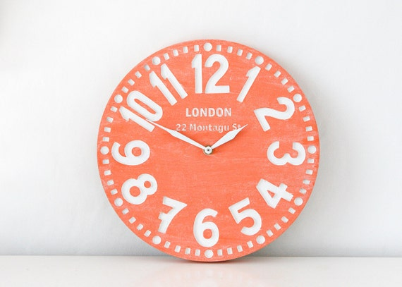 Vintage clock -London coral-  birch clock hand painted by happy fresh coral color