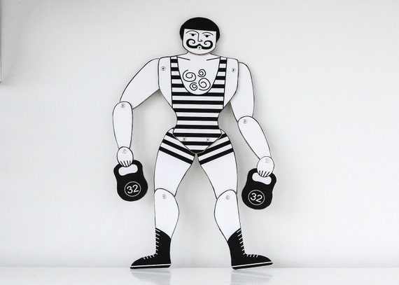 Circus Strong Man Movable Art Doll // Vintage Parisian Marionette Faux Paper Doll for Decor