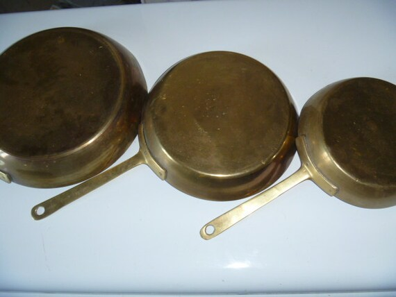 In One Treasury - Brass Fry Pan Set - Wall Hanging - Found in France