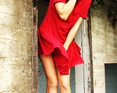 Reworked Vintage Handmade Red Wool Dress with Short Sleeves Button Details on Front and Pleated Skirt