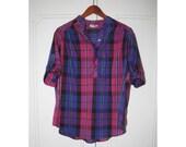 VINTAGE Sz L PLAID Pink and Purple Henley Button Down Shirt