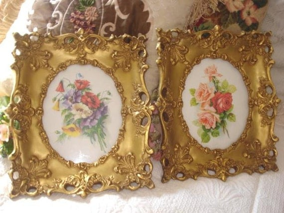 RESERVE for YRNA Vintage Frames Ornate Gold Leaf Rococo Florentine Barbola Roses Old Heavy Plaster