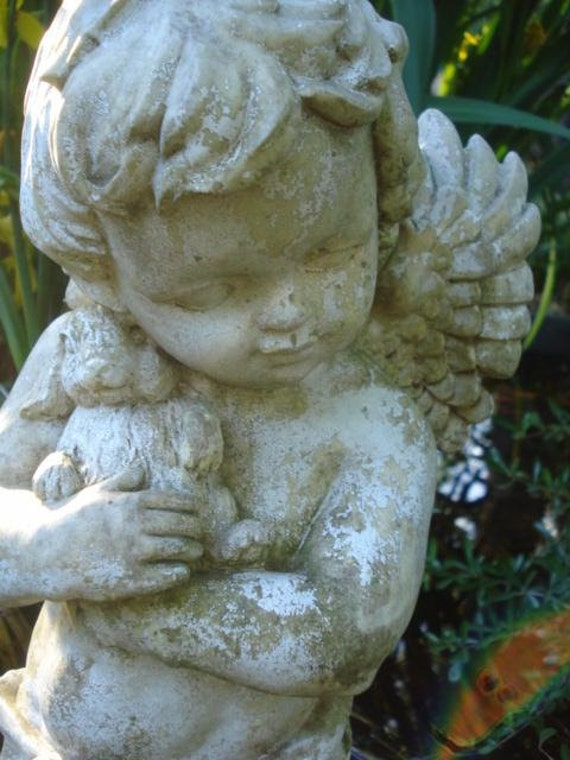 Large Vintage Winged Cherub Angel With Bunny Garden Statue